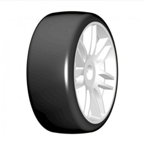 GRP - 1:8 GT - T02 SLICK - S3 Soft - Mounted on New Spoked White Wheel - 1 Pair