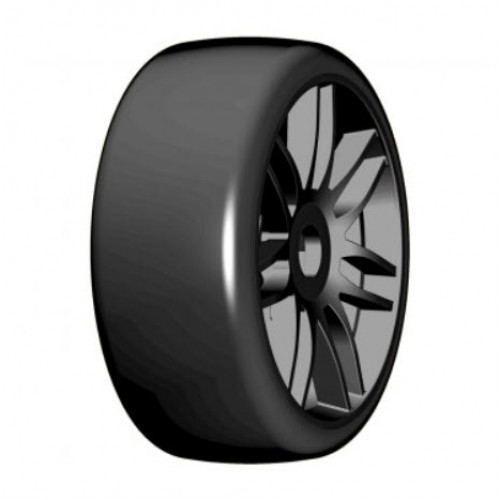 GRP - 1:8 GT - T02 SLICK - S3 Soft - Mounted on New Spoked Black Wheel - 1 Pair