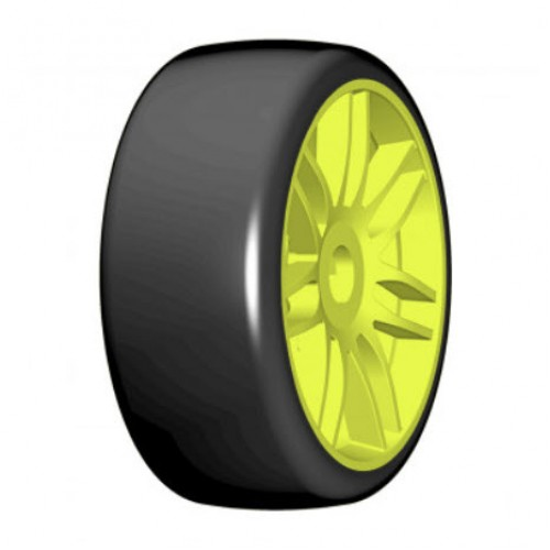 GRP - 1:8 GT - T02 SLICK - S3 Soft - Mounted on New Spoked Yellow Wheel - 1 Pair