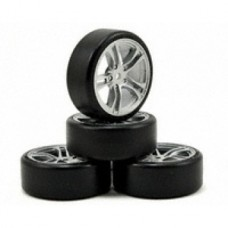 TM503302FS E4D Drift Car Mounted Tire (5 Spoke. Black Baked Coat)