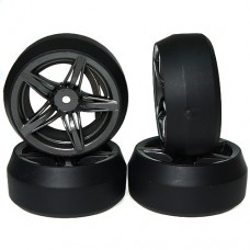 Spec D FS Wheel Offset +3 GunMetal w/Tire 4pcs For 1/10 Drift # WL-0076