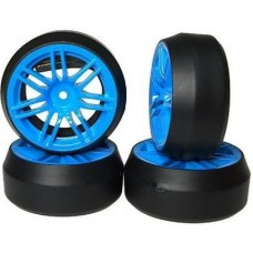 Spec D 7 Spoke 2 Ribs Wheel Offset +3 Blue w/Tire 4pcs For 1/10 Drift #WL-0082