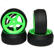 Spec D 5 Spokes Wheel Offset +6 Green w/Tire 4pcs For 1/10 Drift#WL-0087