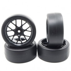 Yeah Racing (#WL-0100) Spec D CS Wheel Offset +3 Black w/Tire 4pcs For 1/10 Drift