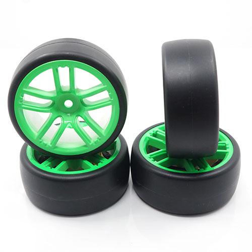 (#WL-0102) Spec D CX10 Wheel Offset +3 Green w/Tire 4pcs For 1/10 Drift