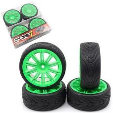 Spec T 10 Spokes Wheel Offset 3 Green w/Tire 4pcs For 1/10 Touring #WL-0105