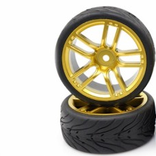 Yeah Racing (#WL-0106) Spec T CX10 Wheel Offset 3 Gold w/Tire 4pcs For 1/10 Touring #WL-0106