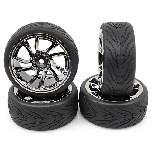 Yeah Racing (#WL-0107) Spec T SJ10 Wheel Offset 3 GunMetal w/Tire 4pcs For 1/10 Touring