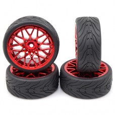 Yeah Racing (#WL-0108) Spec T LS Wheel Offset 3 Red w/Tire 4pcs For 1/10 Touring