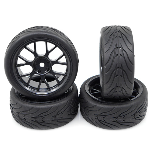 (#WL-0109) Spec T CS Wheel Offset 3 Black w/Tire 4pcs For 1/10 Touring