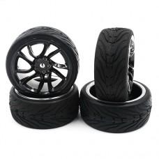 (#WL-0110) Spec T SJ10 Wheel Offset 3 Black w/ Tire 4pcs For 1/10 Touring