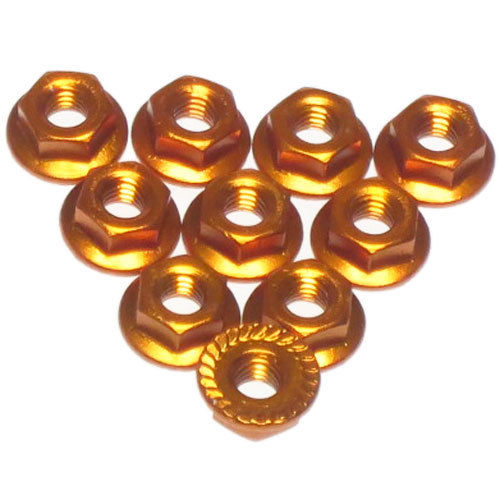 Yeah Racing 4mm Aluminium Serrated Lock Nut 10pcs (OR) #LN-M4S-OR