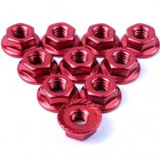 (#LN-M4S-RD) 4mm Aluminium Serrated Lock Nut 10pcs (RD)