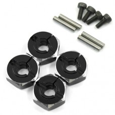 (#WA-033BK) Aluminum Hex Adaptor Set 12x6mm For 1/10 RC Touring Drift Crawler Black