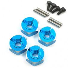 (#WA-033BU) Aluminum Hex Adaptor Set 12x6mm For 1/10 RC Touring Drift Crawler Blue